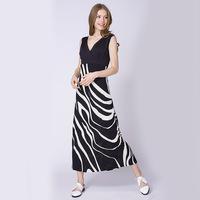 2015 New Ladies Summer  Long beach Dress deep V-neck   bohemian tank sexy striped printing  Dress Brand 880