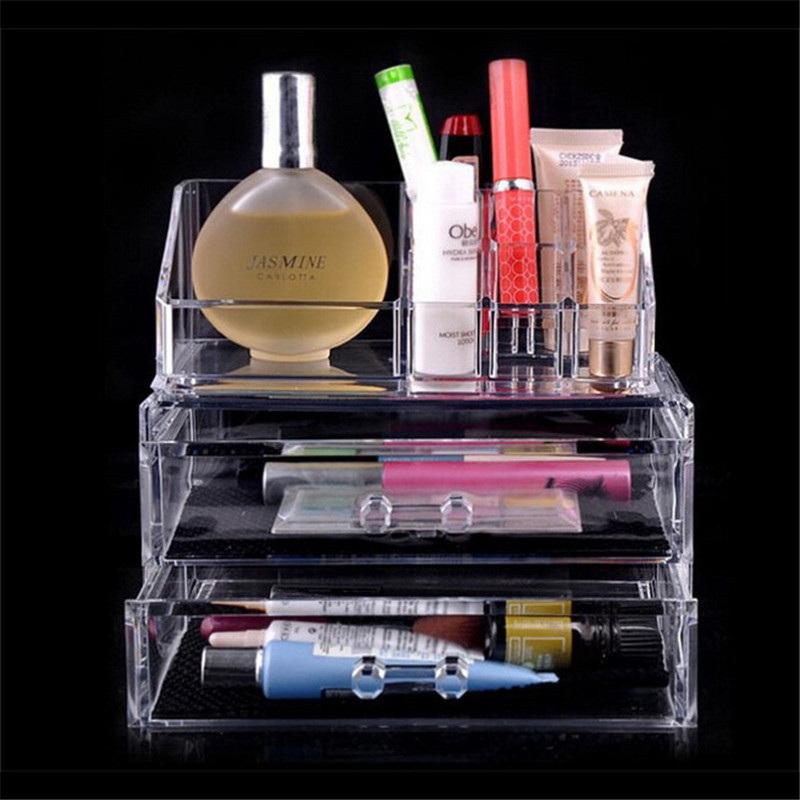 11 grelhas de plástico organizador Cosmetic com 2 gavetas durável limpar maquiagem organizador para as mulheres venda quente único projeto 079(China (Mainland))