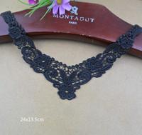 BLACK COLLAR DRESS COSTUME L  LACE TRIMS APPLIQUE CRAFT  sewing DIY