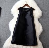 2015 Summer New Designer Dress Women's Brife High Quality Sleeveless Bow Dress Black / Green / Blue
