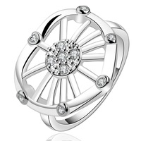 FREE SHIPPING!925 Sterling SILVER Elegant design with Crystals  Rings size( 7# 8#)925 silver  Rings,Drop shipping