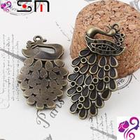 44*22mm Zakka Antique bronze diy alloy jewelry accessories wholesale, vintage peacock charms pendant, fashion bulk animal charms