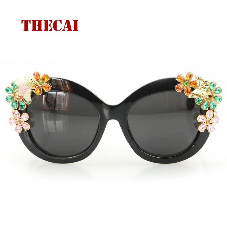 THECAI Steampunk oculos sol Crystal Flower Sunglasses diamond  Women Cat Style gafas de sol hombre(China (Mainland))