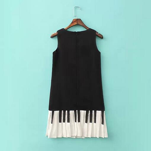 Платье свободного покроя без рукавов контейнер лето, европейский и американский стиль весна и женское воротник-хомут пианино клавиши # c1144