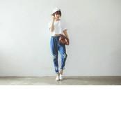 2015 Autumn Korean personalized star damaged pumping with elastic waist baggy jeans denim harem pants