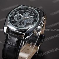 Brand New Relogio Masculino Silver Case Full Black Leather Strap Male Analog Quartz Dress Clock Wrist Men Casual Watch / PHN061
