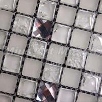 [Mius Art Mosaic]  Beveling edge whhite color 13 faced diamond mirror glass mosaic tile for kitchen backsplash