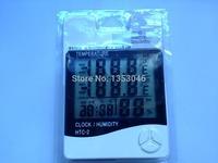 2pcs HTC-2 Indoor/Outdoor LCD Digital Thermometer Hygrometer with Dual Sensors Multifunction Meter Large Hygrometer Alarm Clock