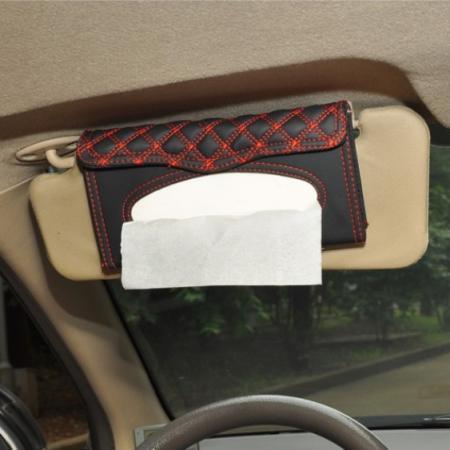 New Motors Car Sun Visor Faux Leather Tissue Box Paper Towel Napkin Case Cover CA0205-AR(China (Mainland))