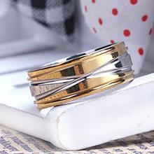 Men's Fashion 316L titanium steel ring gold & silver color stripes cross threaded ring