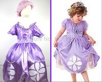 Retail 1pic children dresses sofia princess girls fashion Fluffy dress big petals princess Sophia clothing Free shopping