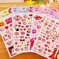 DIY Photo Album Corner Stickers Scrapbooking Album Frames Crystal drops Kiss Love 4 Designs Valentine's Day Gift 8 sheets/lot