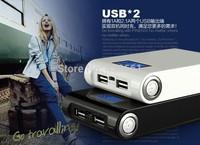 1pcs Free shiping  Power Bank LCD 12000mAh  Dual USB Charger  Battery External Battery Charger Powerbank