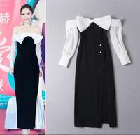2015 Spring Runway High Quality Celebrity Dress Noble Slash Collar Big Bow Button Slit Sheath Cute Party Dress Club Dress