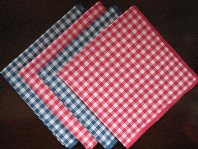 12 pieces / one dozen large size 40cm x 40cm checks pattern 100% cotton handkerchiefs ( QS )(China (Mainland))