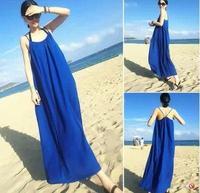 2015 new women's dress sleeveless chiffon strap  big yards summer seaside resort beach tropical LONG Maxi female sexy dress