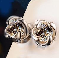 E293 Rose Stud Earrings high-grade jewelry anti allergy earrings for women sterling silver jewelry