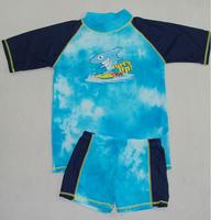 New free shipping kids boy printed shark pattern UPF 50+ 2 pcs beach rash guards, children retail swimming wear