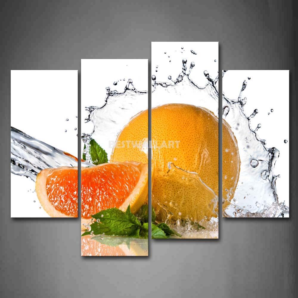 Laranja com folha verde e água 4 peça amarelo laranja pintura em tela de arte imprimir a imagem alimentos 3 5 fotos(China (Mainland))