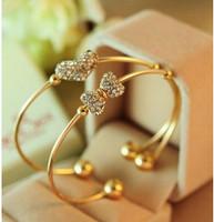 SL090 Hot Fashion 2015 New Fine imitation diamond hearts full of love bow bracelet Wholesale Jewelry Accessories
