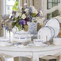 Bowl set jingdezhen ceramic tableware 58 bowl bone china dinnerware set plate dish spoon set
