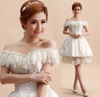 Free shipping slash collar ruffles short medieval princess wedding dress vintage European royal style wedding dress