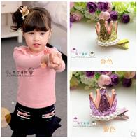 Children kids girls jewelry little princess crown sequins pearl stereo Baby headdress hairpin