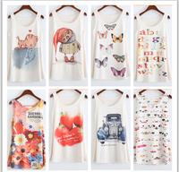 Woman T shirt  summer top tees casual beautiful sleeveless tshirts women's o-neck t shirt free shipping