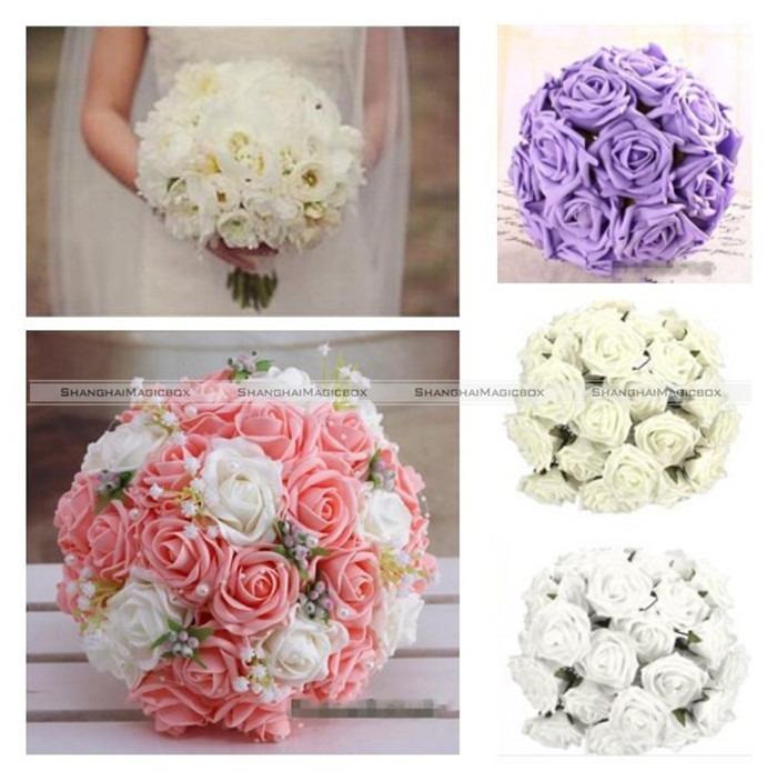 Free Shipping Beautiful 50Pcs Foam Rose Artificial Flower Craft Wedding Bouquet Party DIY 5 Colors 41114003(China (Mainland))