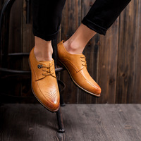 2015 New Arrival Mens Casual Oxford Dress Shoes Top Quality Genuine Leather Men's Brogues Fashion Wedding Flat Shoes For Man.