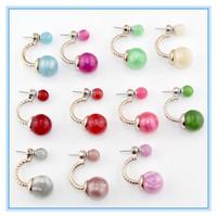 Fashion Jewelry Earrings Hot Selling Round Double Pearl Stud Earrings Big Pearl Earrings for Women