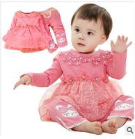 2015 children cute spring shirts+pants 2pcs sets kids lace clothing set children fashion cotton warm suits girl outfits YF-105