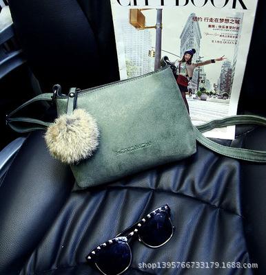 2015 new winter hair decoration bag Vintage all-match exclusive customization handbag scrub single shoulder bag(China (Mainland))