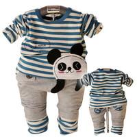 2015 children fashion spring warm suits Boys cute Panda shirts+pants 2pcs sets baby boy cottonoutfits kids clothing set YF-107