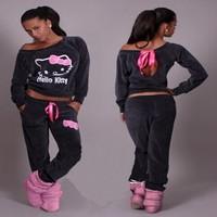 Hot!! 2015 Fashion  kawaii Kitty Women Printed Cartoon Sweatshirts,Hoodies+Pant Suit Set Sport Suit Women's Hoodie Tracksuits