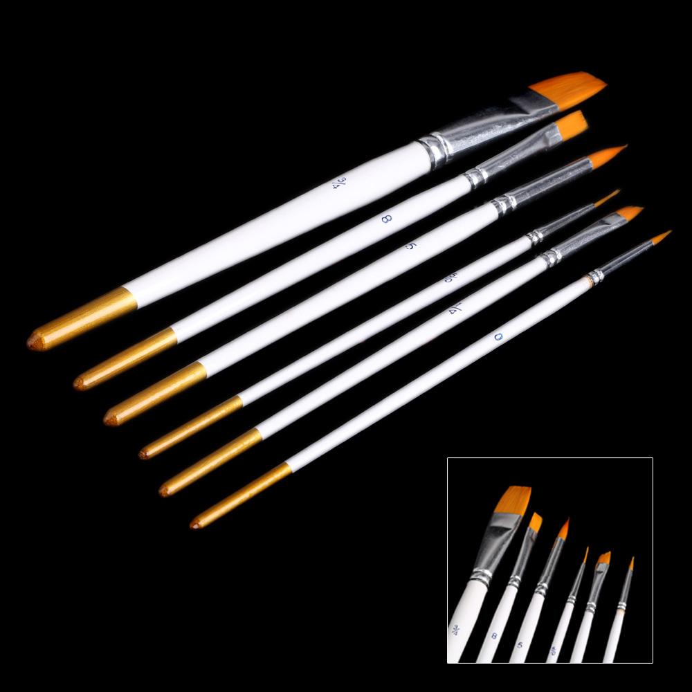 6pcs Different Shape Nylon Hair Paint Brush Set Wooden Handle Gouache Watercolor Oil Painting Brush Acrylics Art Supplies(China (Mainland))