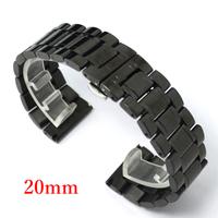 Watch Band 20mm Black Correa De Reloj Wathch Strap Stainless Steel Strap for Hours GD013720