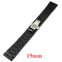 19mm Black Watch Band for Women Men Wrist Watch With Push Botton Hidden GD013719