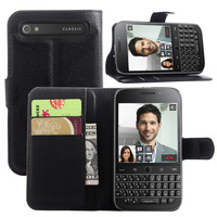1x Litchi Leather Wallet Flip Case Cover with Card Slots and Stand For Blackberry BB Classic Q20 Leather Wallet Case Cover