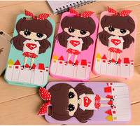 Cartoon girl design soft silicon rubber phone protective cover back case shell for Iphone6 4.7 inch 4 colors Free Shipping
