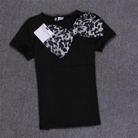 New Spring Summer T-shirt Female Leopard Bow Fashion Slim rhinestone Women T shirt Short Sleeve Casual White Gray Tops Tee 30452