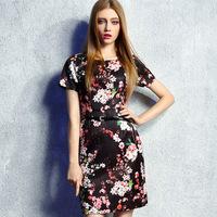 women work wear summer dress 2015  vintage fashion flowers printed plus size xl xxl pullovers one-piece casual dress