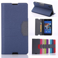 9Colors Wholesale price For Sony Z3 Credit Card stand Magnetic leather PU Flip case For Sony Xperia Z3 Dual Color Stripe design