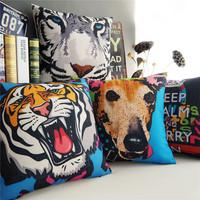 "Modern Fashion Cool Animal Throw Pillow Case Home Decor Cushion Cover Square 18"" 45cm"