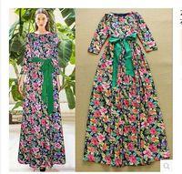 2015 Newest Women Runway Bohemia Floral Maxi Long Dress 3/4 Sleeve  Floor Length Belt Dress Summer  Dress S-L Free Shipping