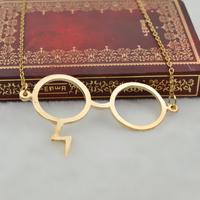 Harry Potter glasses necklace silver necklace lightning necklace