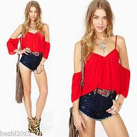 2015 New Hot Women's Chiffon Short Sleeve Shirt Sexy V Neck Loose Tops Blouse