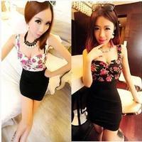 Sexy nightclub ladies Slim bottoming chest wrapped package hip dress Korean version new women ruffled strapless print club dress