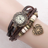 Unique Antique Decoration leather Strap Weave Woman Vintage Bracelet Bangle Quartz watch Love Pendant wristWatches