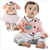 2015 children cute shirts+pants 2pcs setschildren spring fashion cotton warm kids lace clothing set  suits YF-108